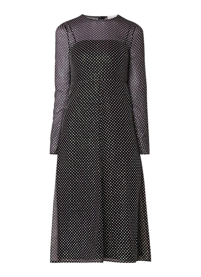 Red Valentino Semi-transparante jurk van mesh met gestipt dessin zwart