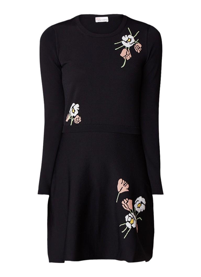 Red Valentino Fijngebreide A-lijn jurk met bloemendessin zwart