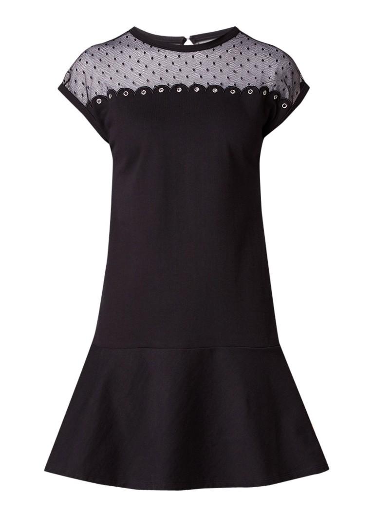 Red Valentino A-lijn jurk met mesh details zwart