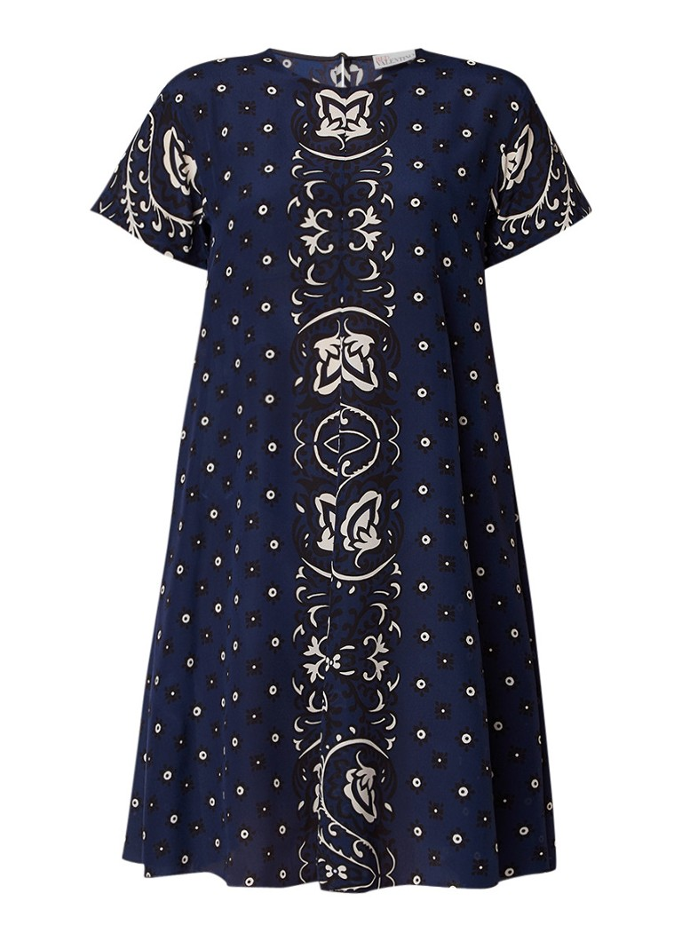 Red Valentino Mini Bandana A-lijn jurk van zijde donkerblauw