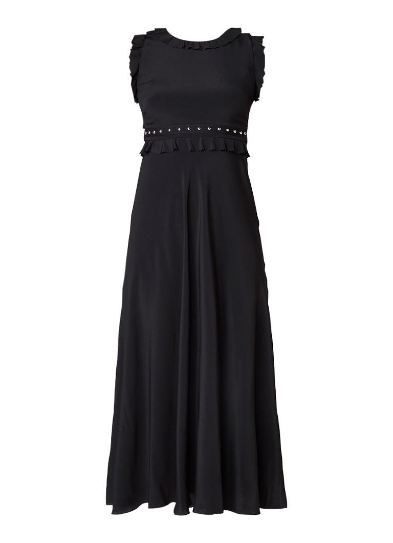 Red Valentino Maxi jurk van crêpe met studs zwart