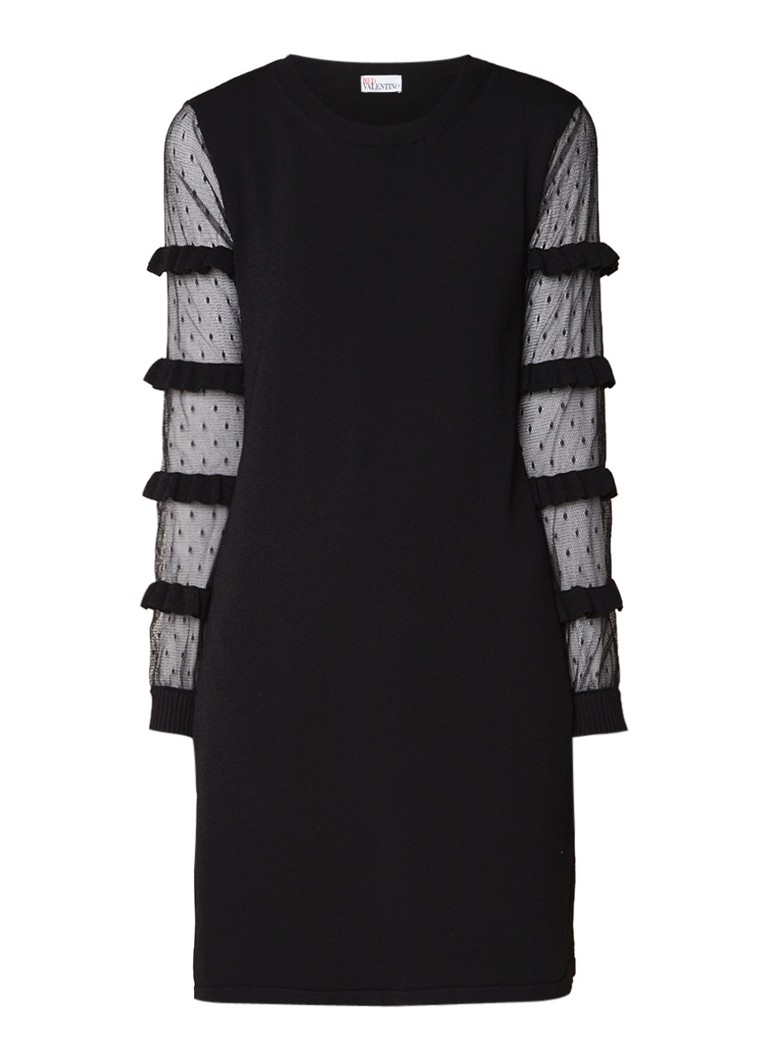 Red Valentino Fijngebreide jurk met mouw van gestipt tule zwart