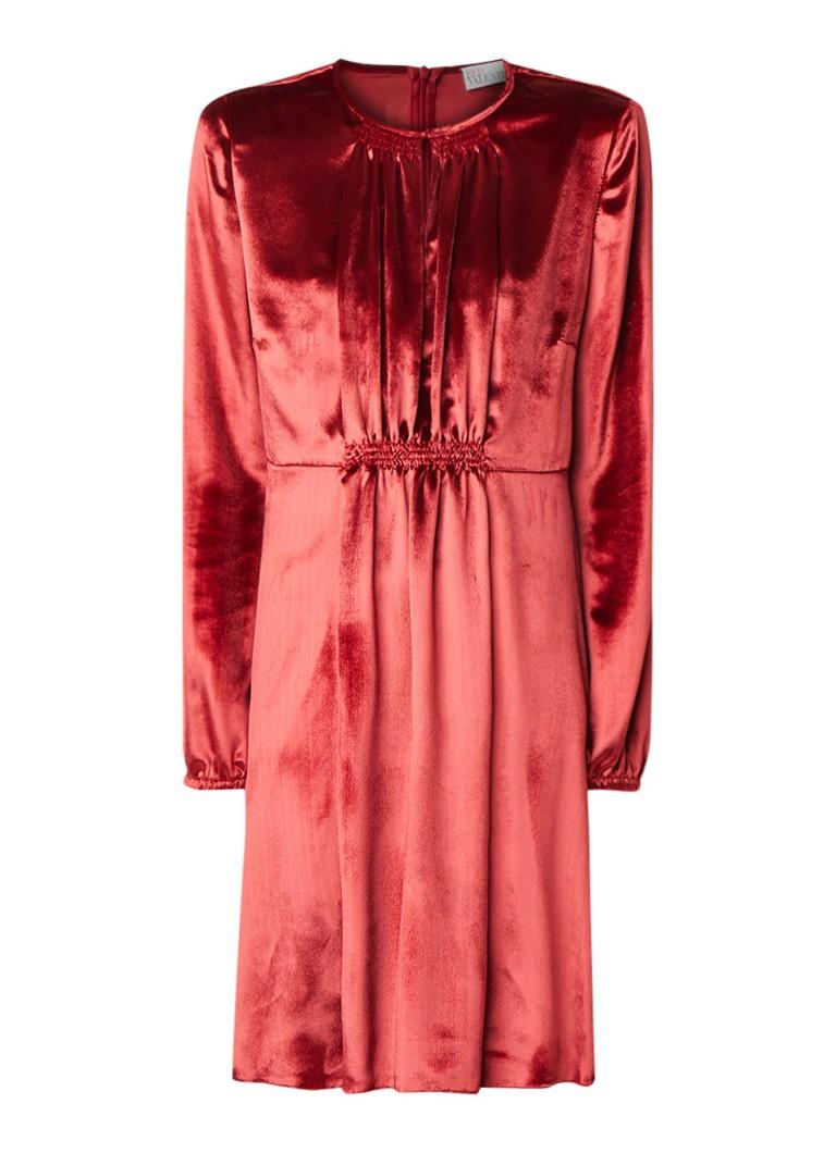 Red Valentino Mini-jurk in zijdeblend met keyhole en plooidetail rood