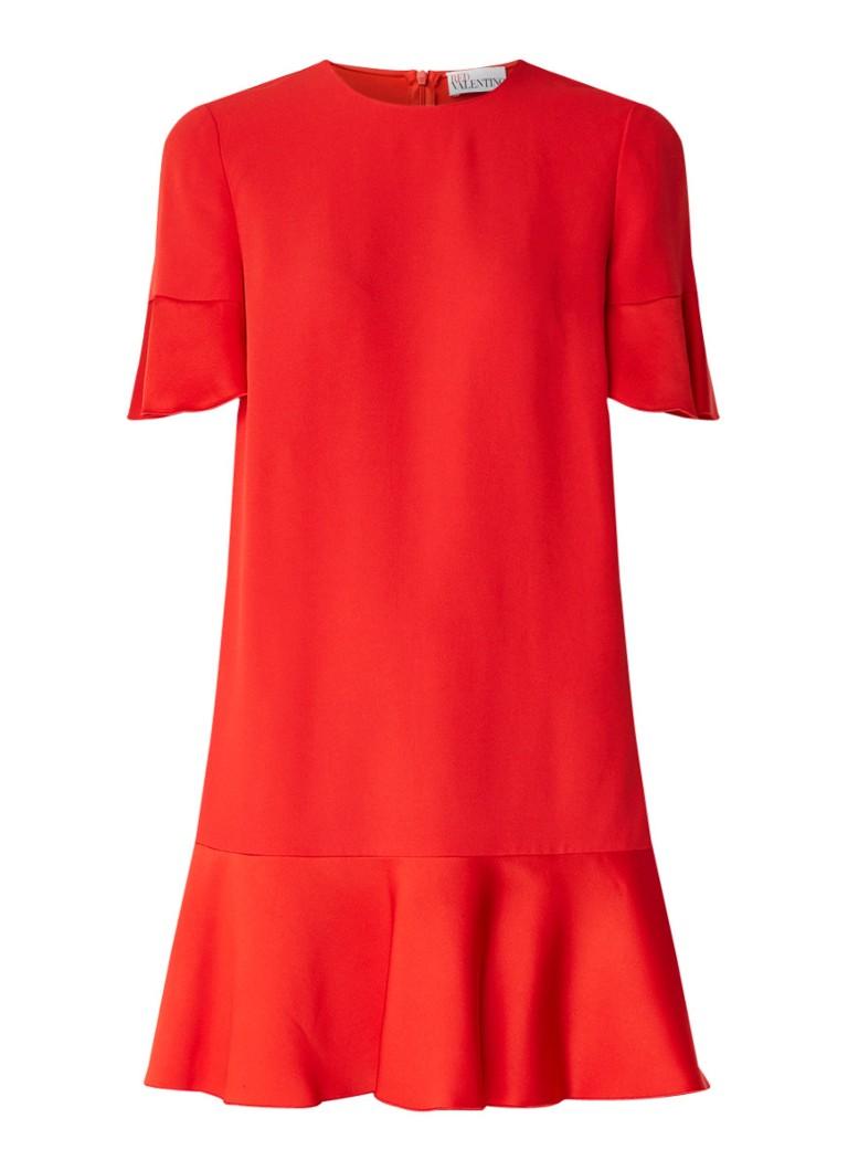 Red Valentino Peplum midi-jurk van crêpe met inzet van satijn rood