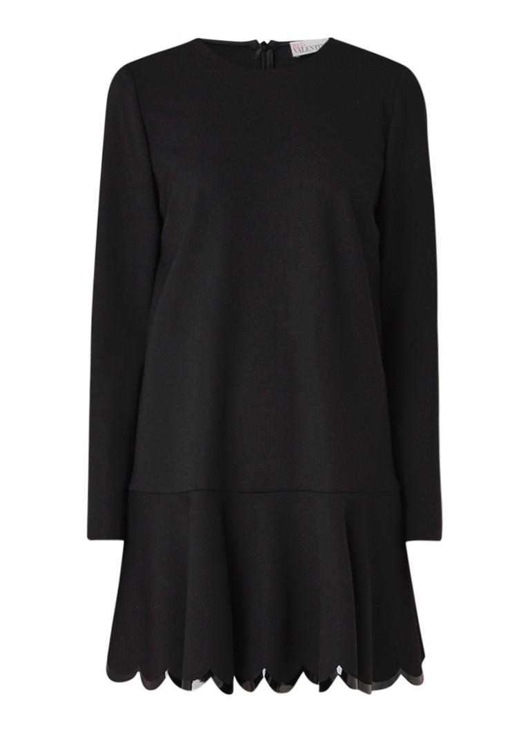 Red Valentino Cady peplum jurk met geschulpte zoom zwart