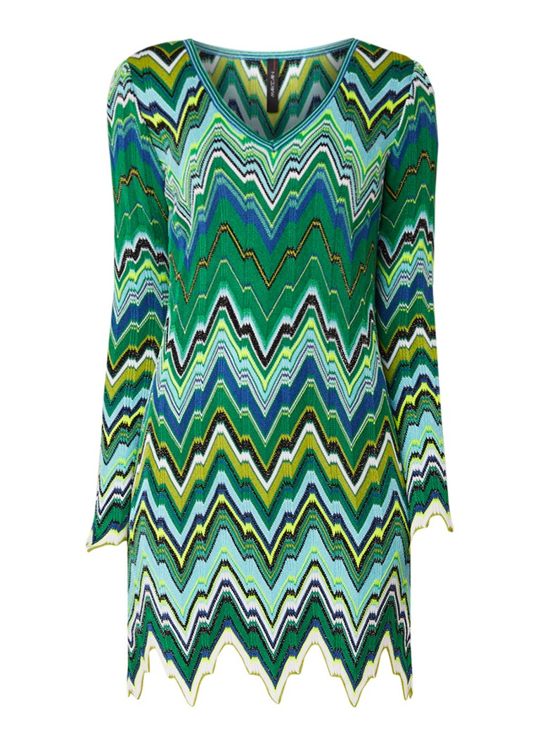 MarcCain Tuniekjurk met ingebreid zigzag dessin groen