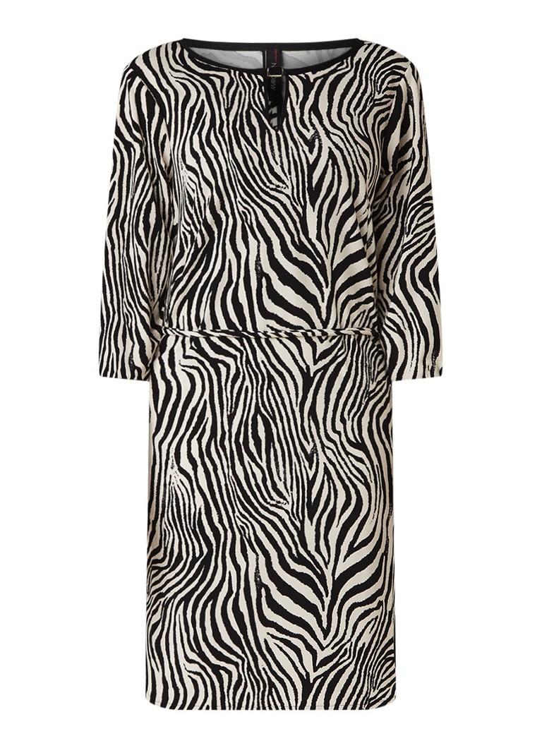 MarcCain Loose fit jurk met zebradessin en strikceintuur zwart