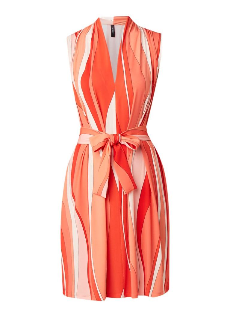 MarcCain A-lijn jurk met V-hals en streepdessin koraalrood