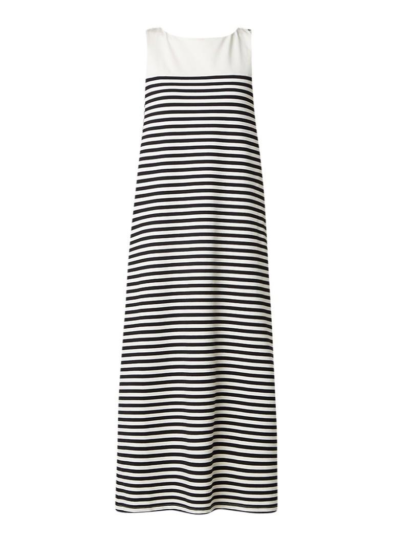 MaxMara Maxi-jurk met streepdessin en gekruiste bandjes zwart