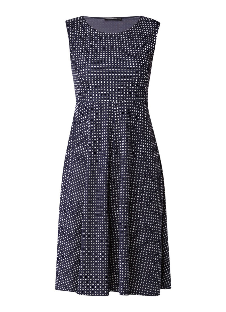 MaxMara A-lijn jurk met grafisch dessin donkerblauw