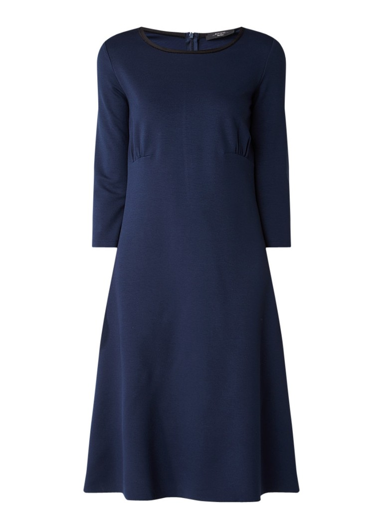 MaxMara Midi-jurk van jersey met plooidetails donkerblauw