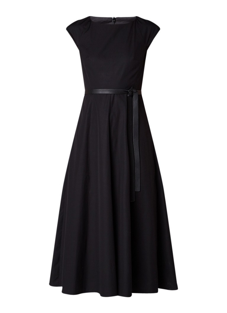 MaxMara Onde A-lijn jurk van katoen met ceintuur zwart