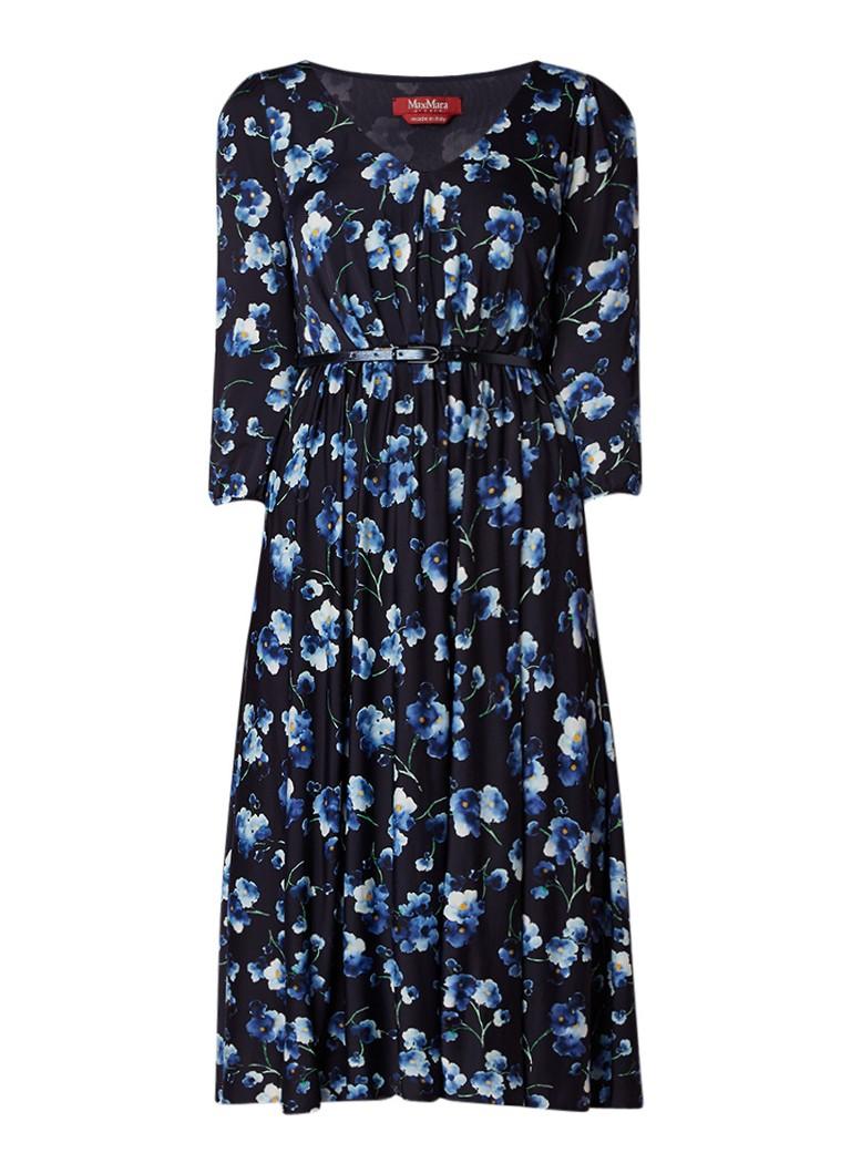 MaxMara Zigrino A-lijn jurk met ceintuur en bloemendessin donkerblauw