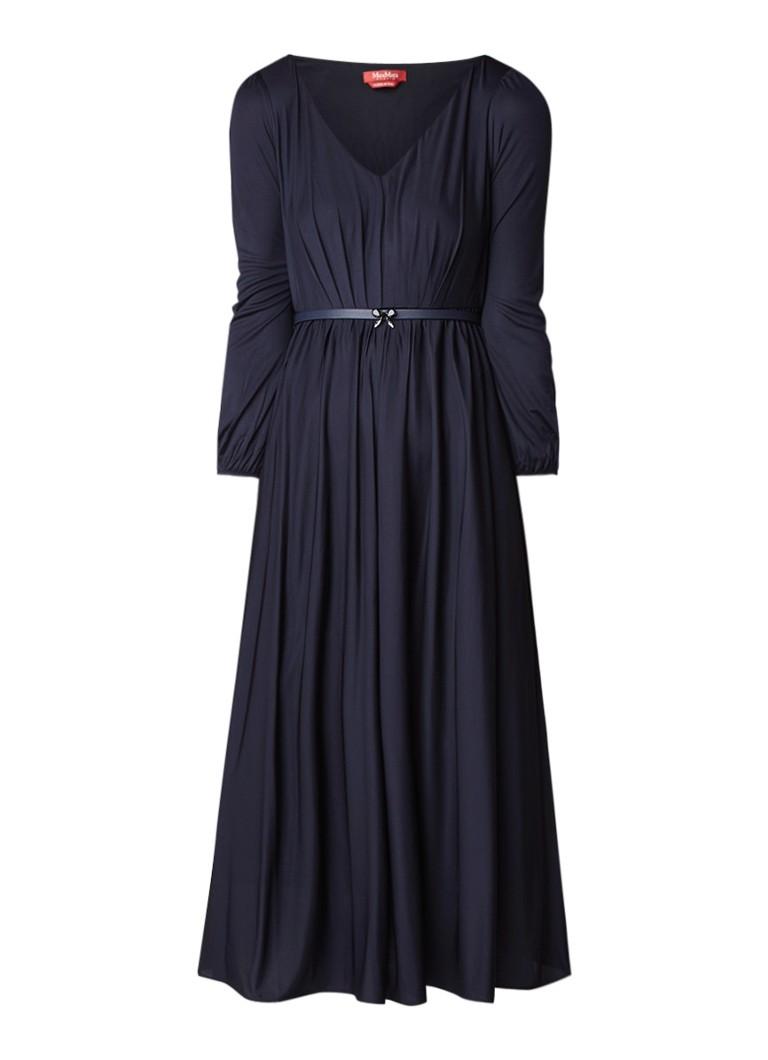 MaxMara Zaffiro A-lijn jurk met ceintuur en pofmouw donkerblauw