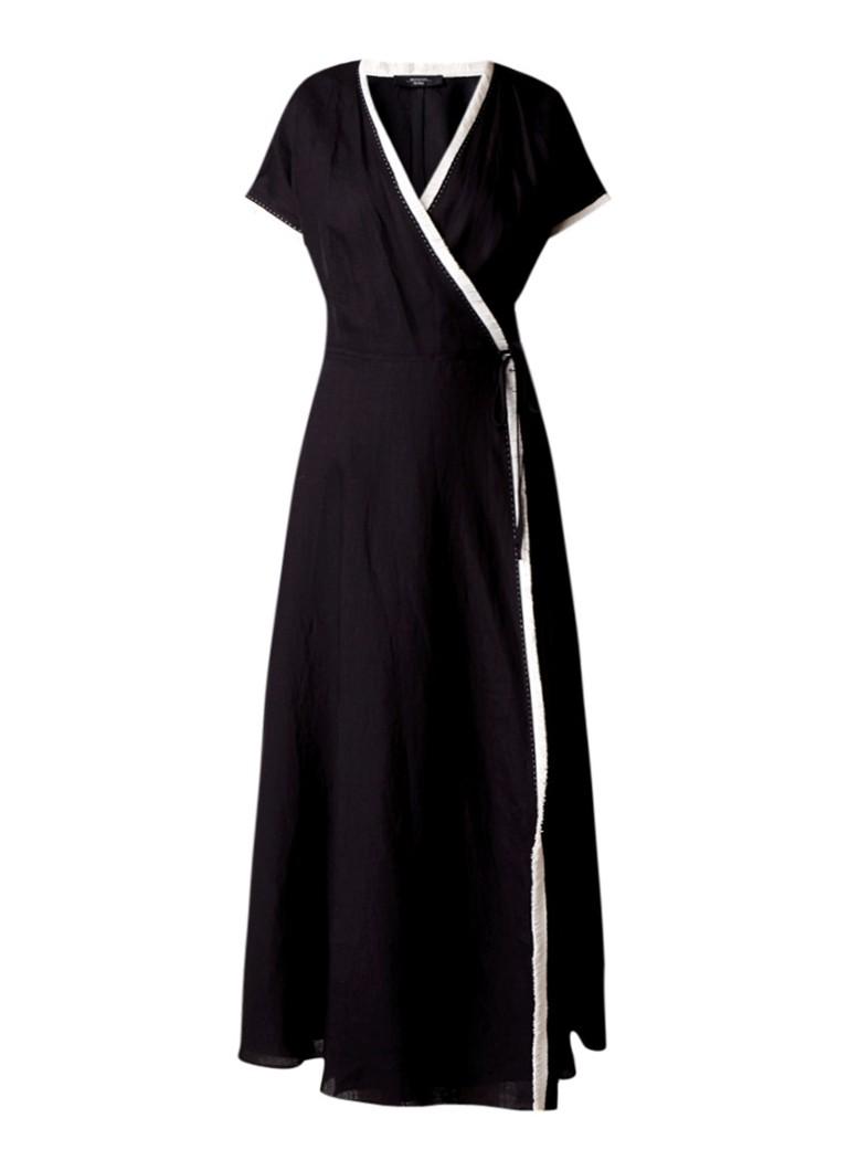MaxMara Vanezza maxi-jurk van linnen met franjes zwart