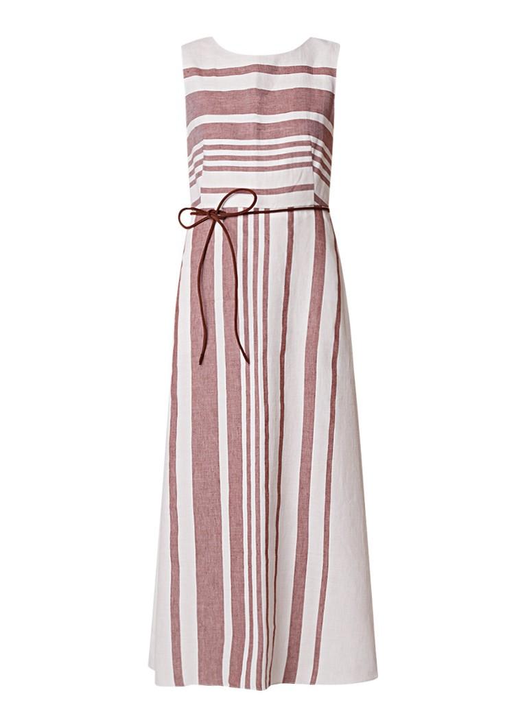 MaxMara Dimitri A-lijn jurk in linnenblend met streepdessin zand