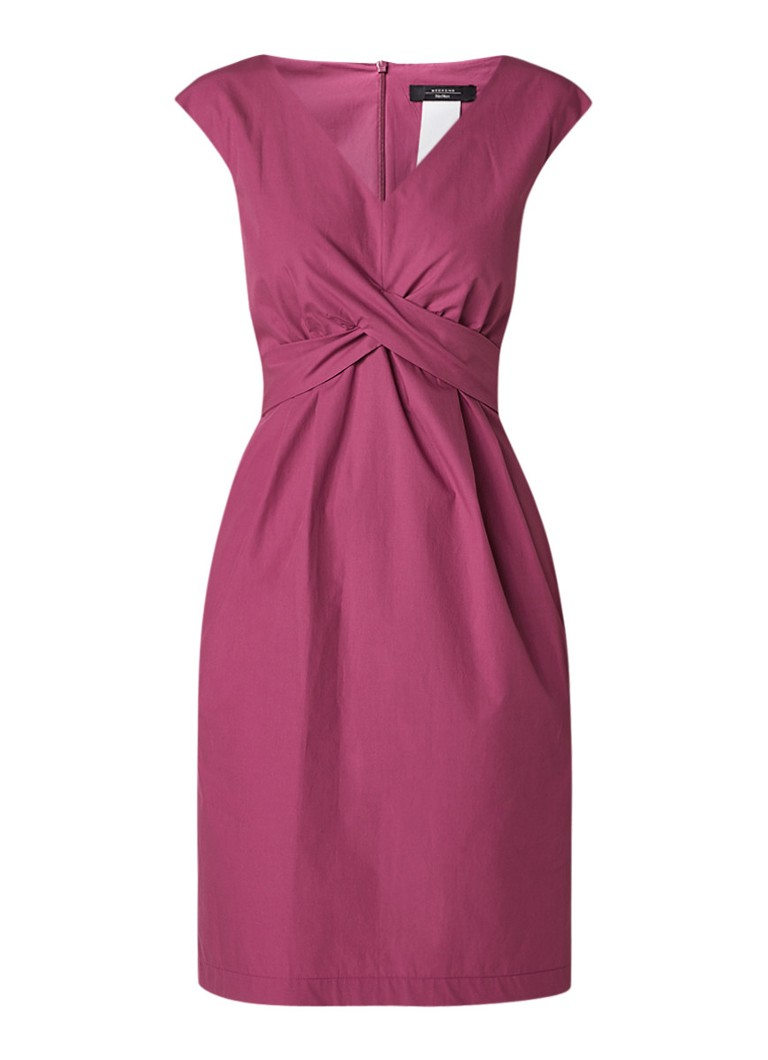 MaxMara Candida midi-jurk van linnen met strikceintuur fuchsia