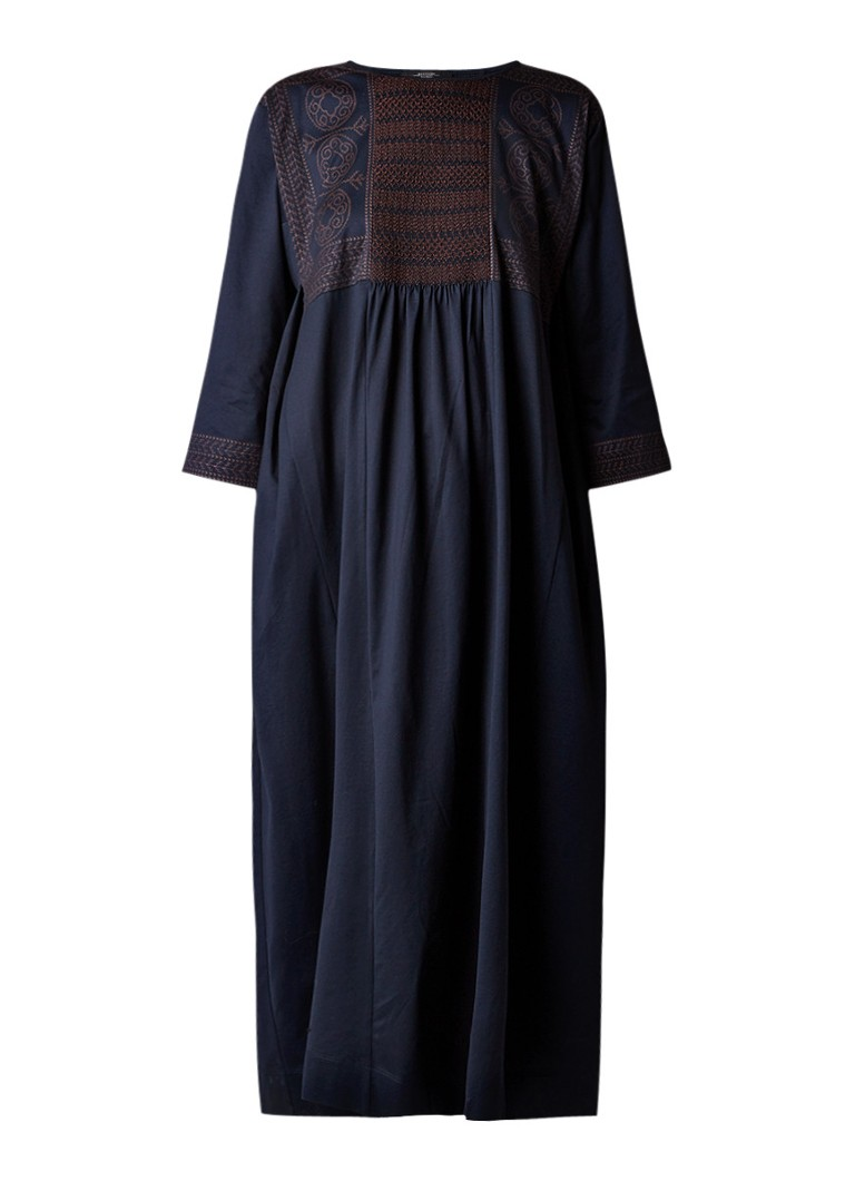 MaxMara Campus fijngebreide loose fit maxi-jurk met smock detail donkerblauw
