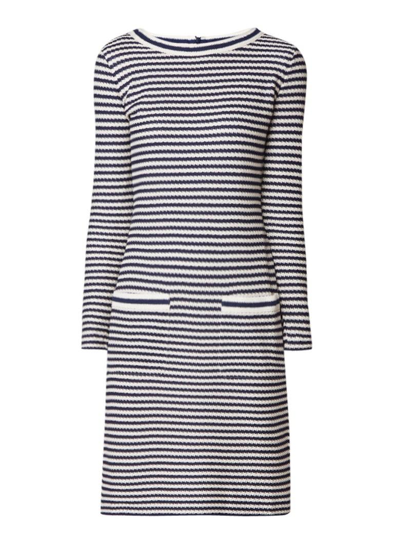 MaxMara Sauna jurk met streepdessin en opgestikte zakken blauw