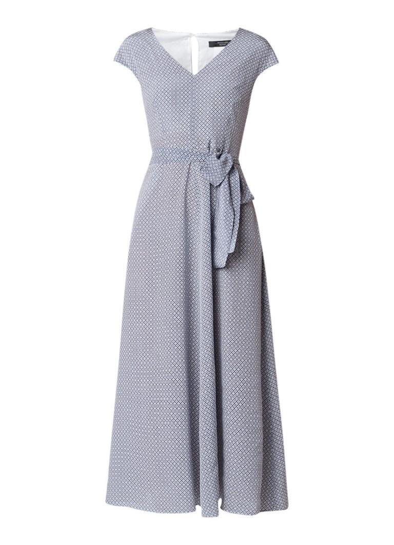 MaxMara Alarico A-lijn jurk van zijde met strikceintuur middenblauw