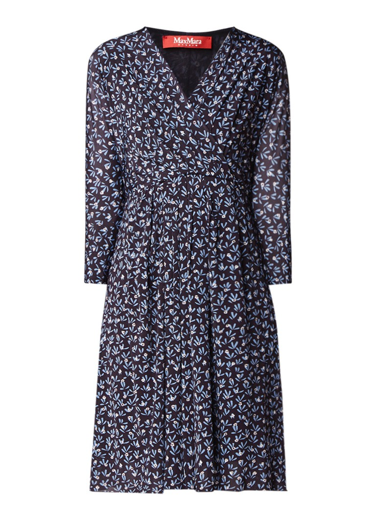 MaxMara Smirne jurk met bloemenprint en ceintuur donkerblauw