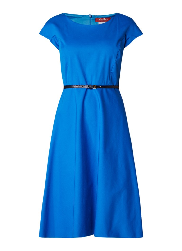 MaxMara Beirut A-lijn jurk met ceintuur en steekzak royalblauw