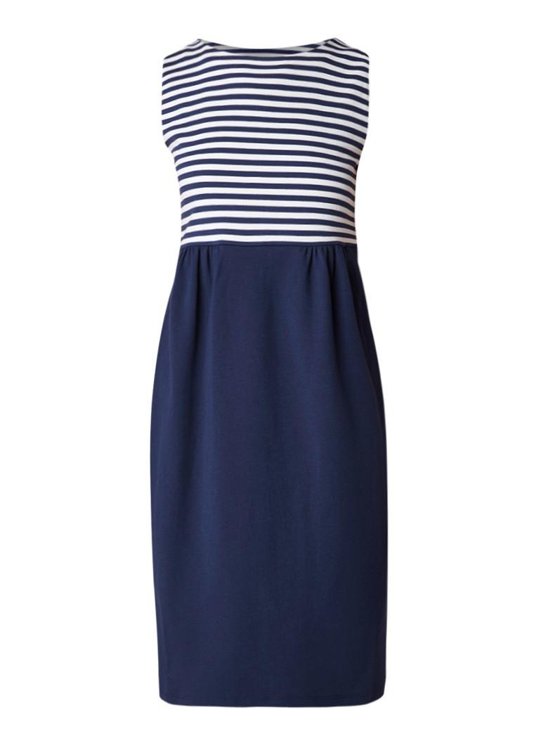 MaxMara Midi-jurk met contrast en streepdessin donkerblauw