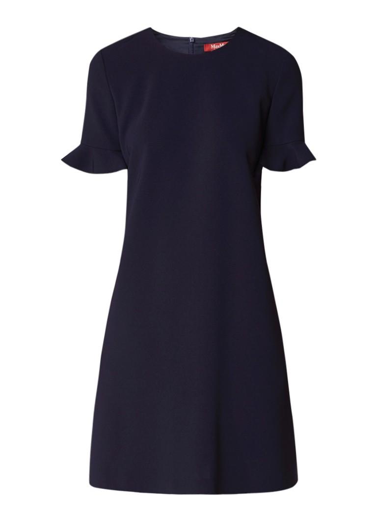 MaxMara Eiffel A-lijn jurk met volant donkerblauw