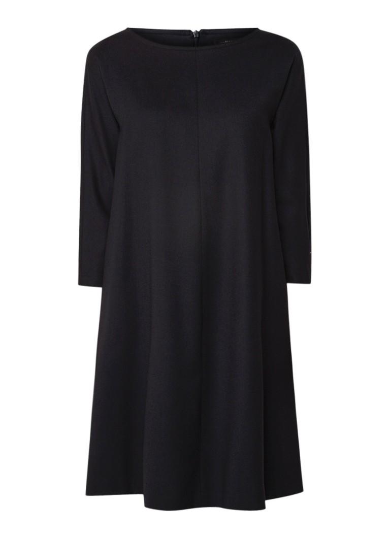 MaxMara A-lijn jurk van scheerwol met steekzak donkerblauw
