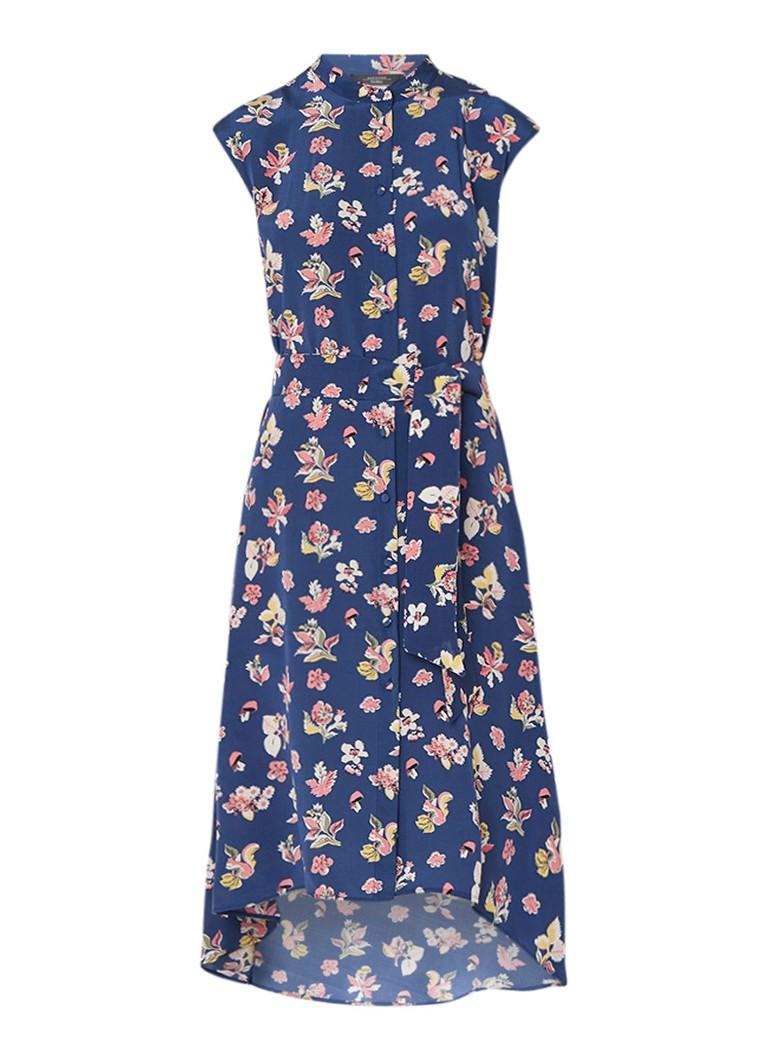 MaxMara Macao blousejurk van zijde met bloemendessin middenblauw