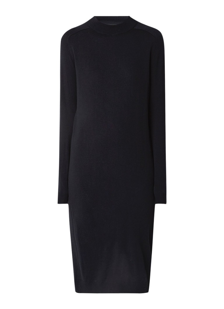 MaxMara Fijngebreide midi-jurk met subtiele col donkerblauw
