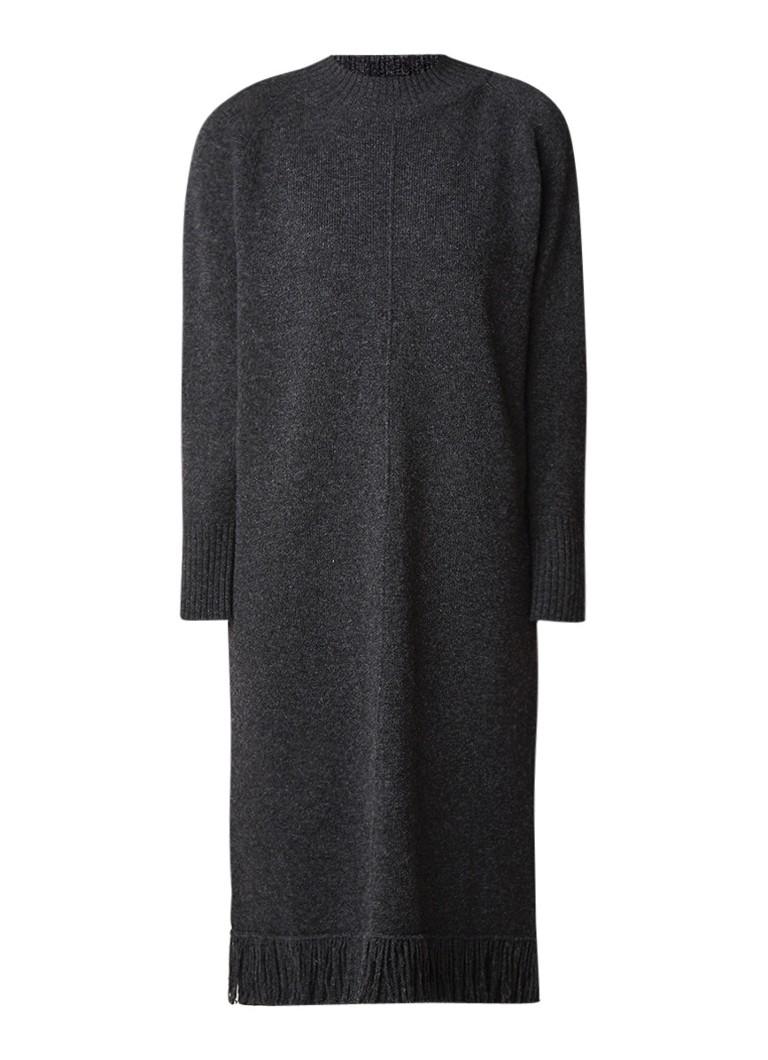 MaxMara Genepi trui-jurk van scheerwol met franje donkergrijs