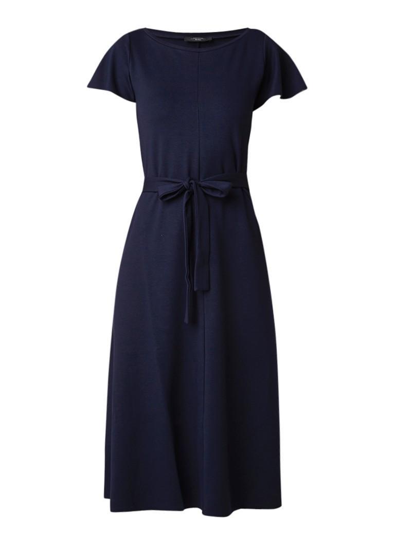 MaxMara A-lijn jurk met strikceintuur donkerblauw