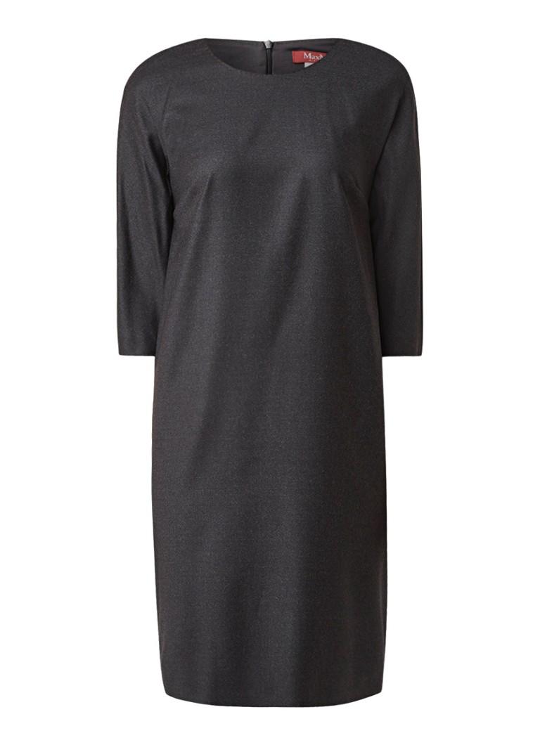 MaxMara Loose fit midi-jurk van scheerwol antraciet