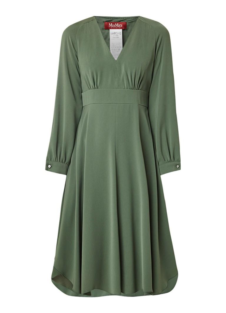 MaxMara Asymmetrische Riva jurk met V-hals legergroen
