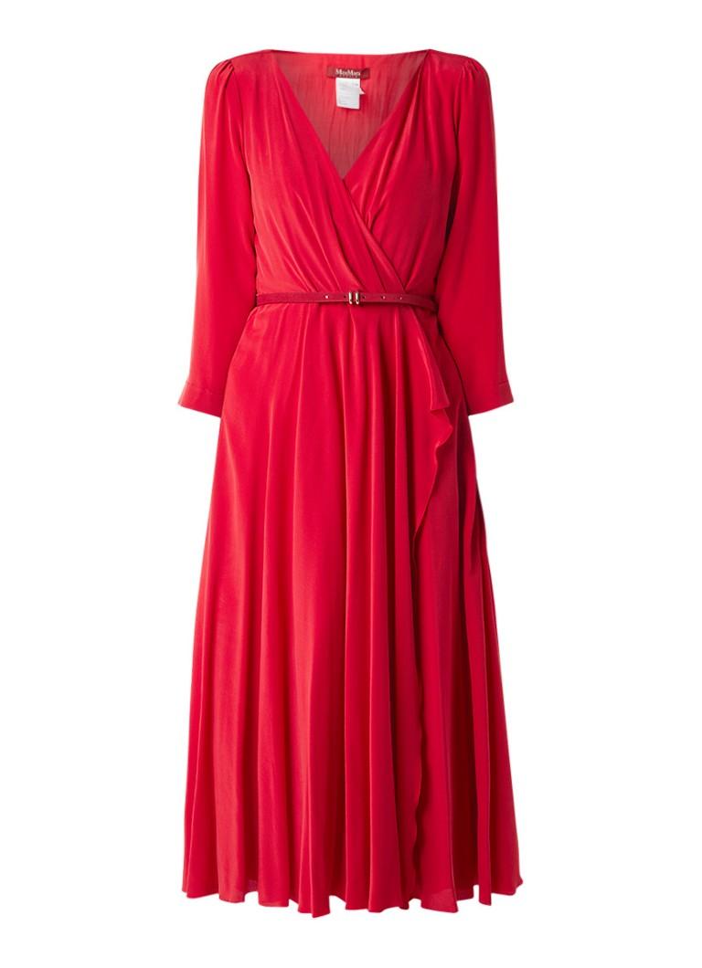 MaxMara Midi-jurk met volant en ceintuur rood