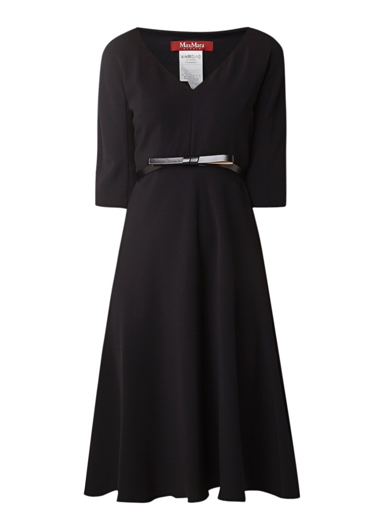 MaxMara Balenio A-lijn jurk met ceintuur zwart