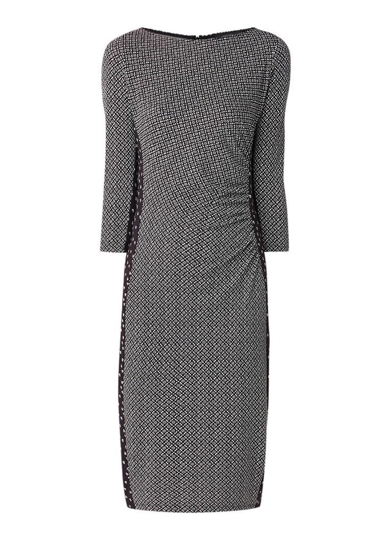 MaxMara Jersey midi-jurk met dessin en driekwart mouw zwart