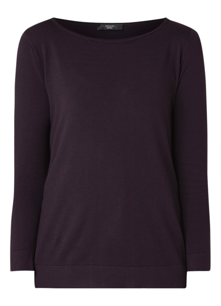 Image of MaxMara Mare fijngebreide pullover met driekwart mouw