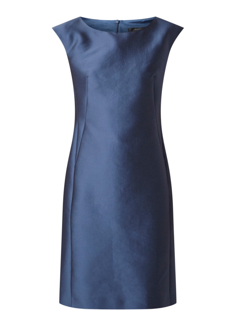 MaxMara Fiesta kokerjurk in zijdeblend blauw