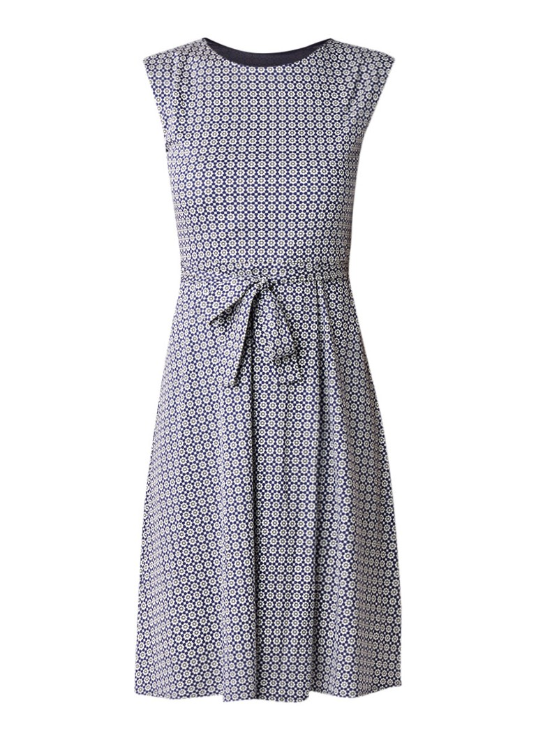 MaxMara Rosi A-lijn jurk met bloemendessin en strikceintuur donkerblauw