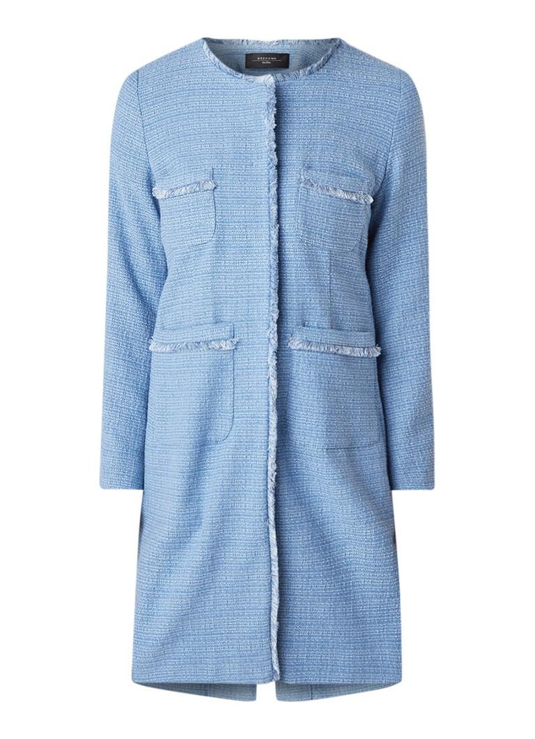 MaxMara Ottico blousejurk van tweed met opgestikte zakken lichtblauw