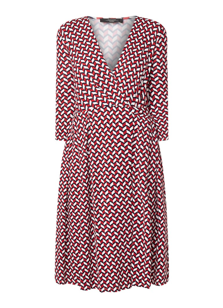 MaxMara Maxi-jurk van jersey met overslag en grafisch dessin rood