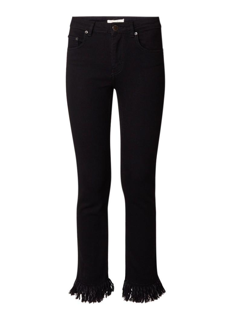 Maje Panako high rise straight fit jeans met gerafelde zoom