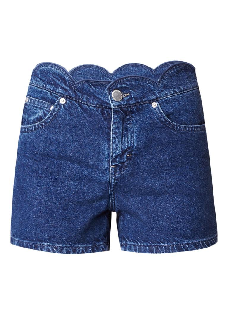Maje Shafti high rise denim shorts met geschulpte tailleband