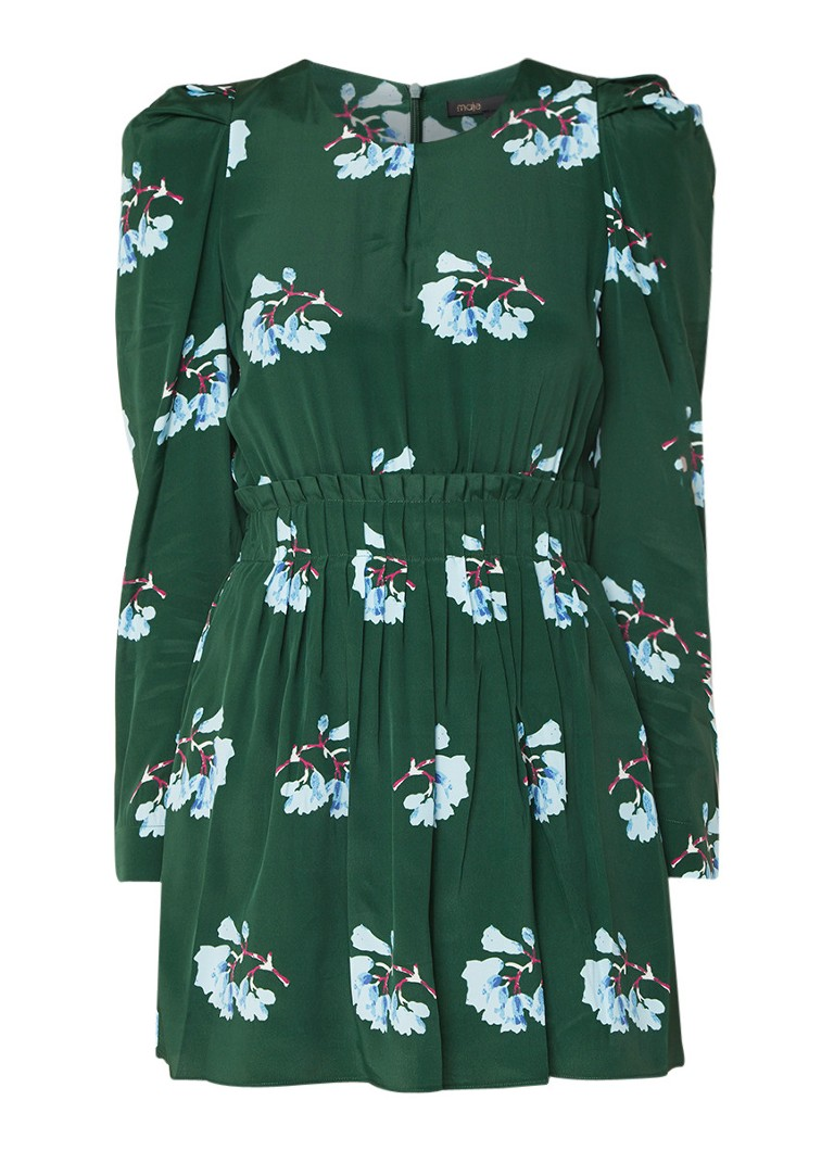 Maje Koise mini-jurk in zijdeblend met bloemendessin donkergroen