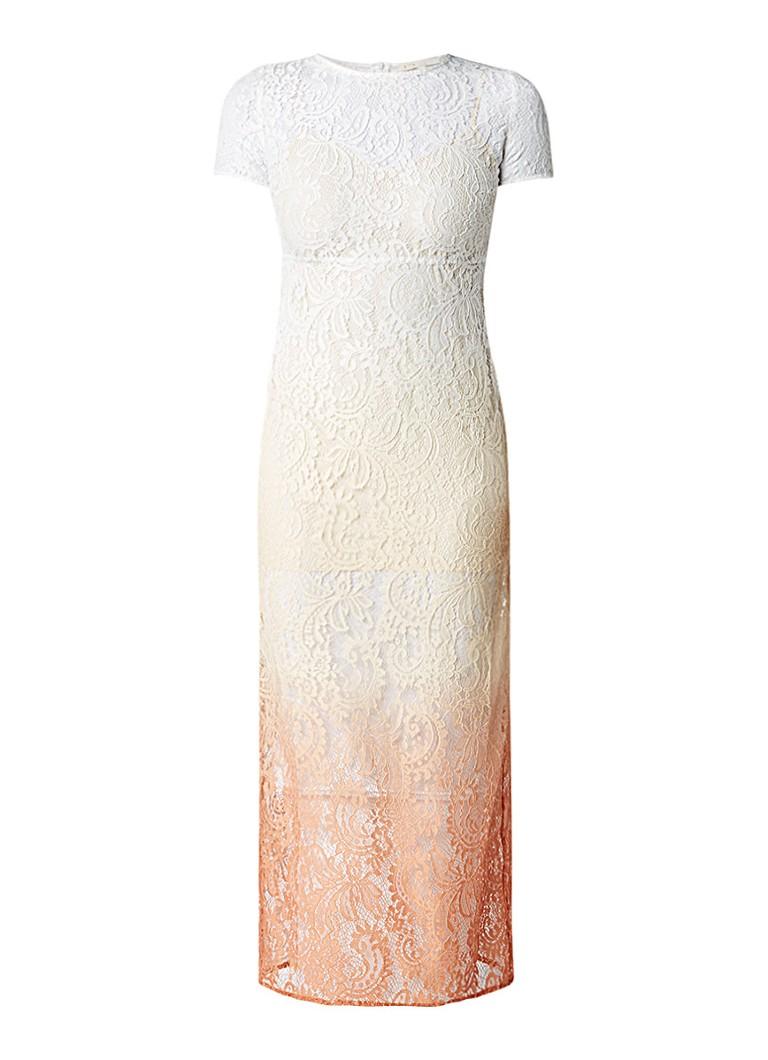 Maje Ralux maxi-jurk van kant met tie dye-dessin gebroken wit