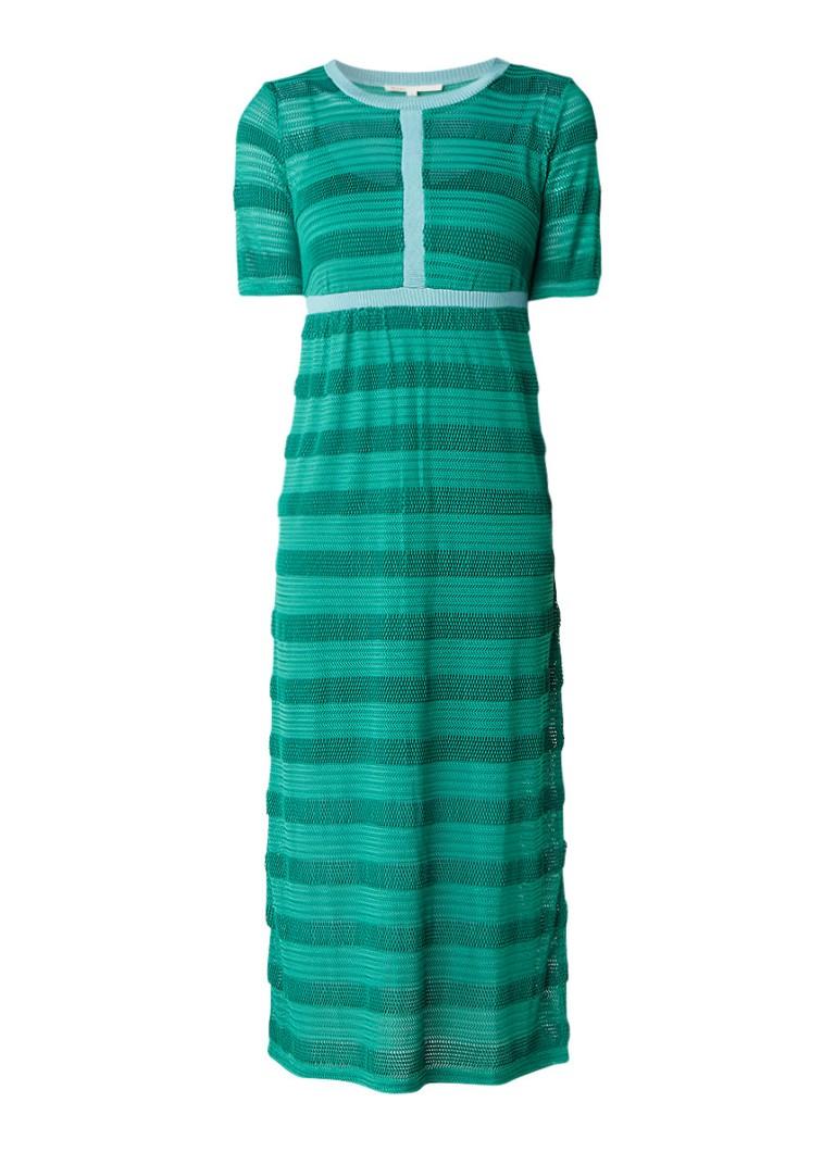 Maje Relona maxi-jurk met subtiel opengewerkte structuur groen