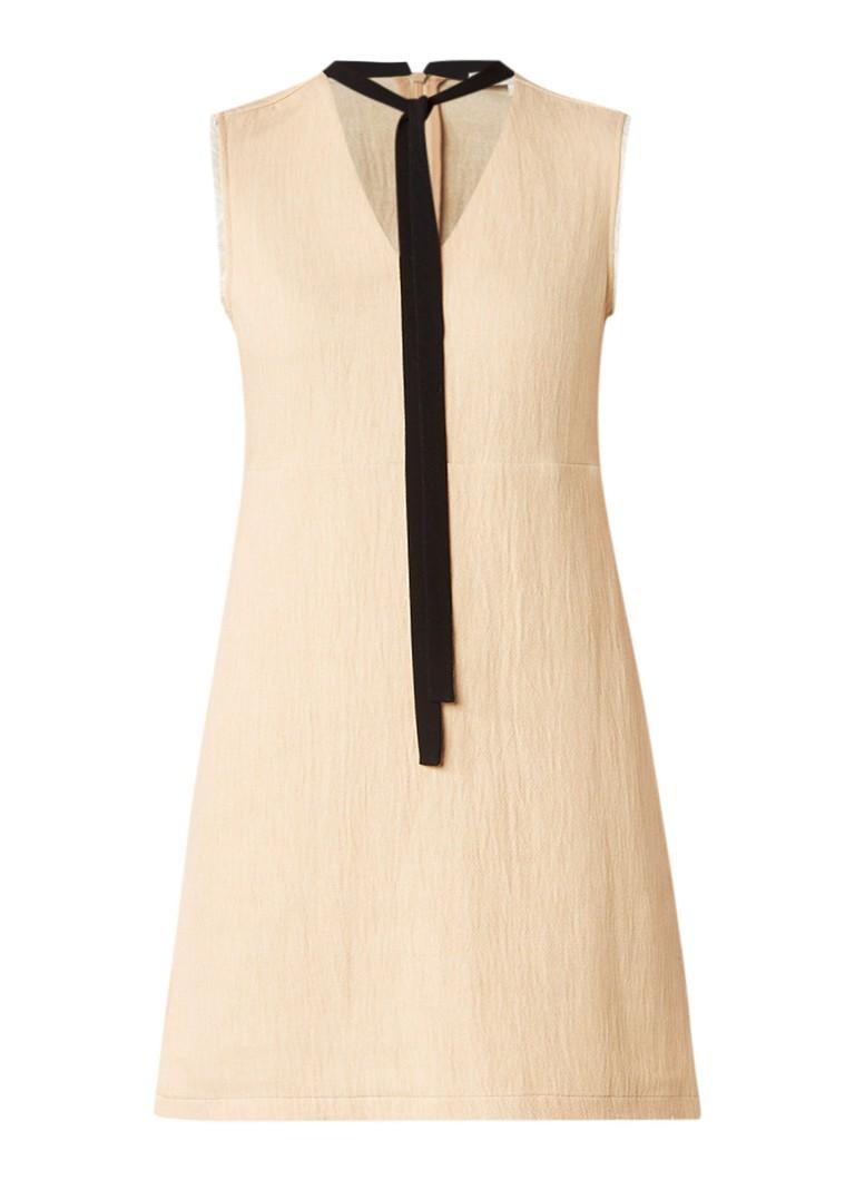 Maje Rikou jurk in linnenblend met
