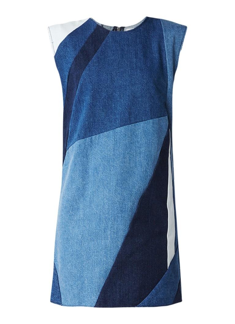 Maje Ratch denim jurk met patchwork dessin